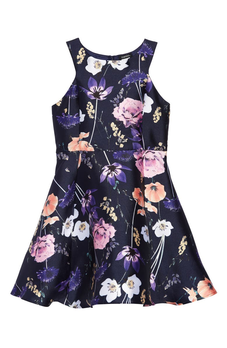 ZUNIE Sleeveless Floral Print Mikado Dress, Main, color, 400