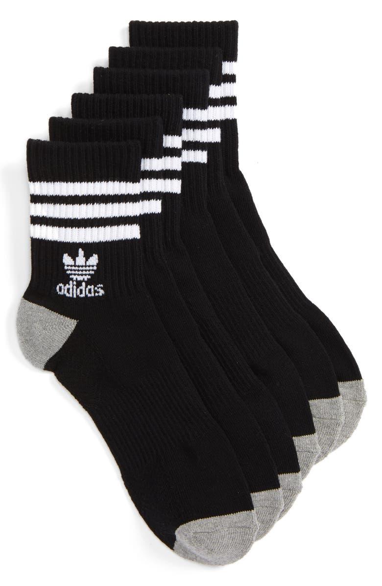 ADIDAS ORIGINALS 3-Pack Quarter Crew Socks, Main, color, BLACK/ WHITE
