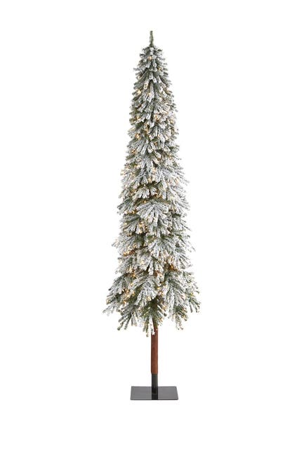 Image of NEARLY NATURAL 9ft. Flocked Grand Alpine Artificial Christmas Tree with 600 Clear Lights on Natural Trunk