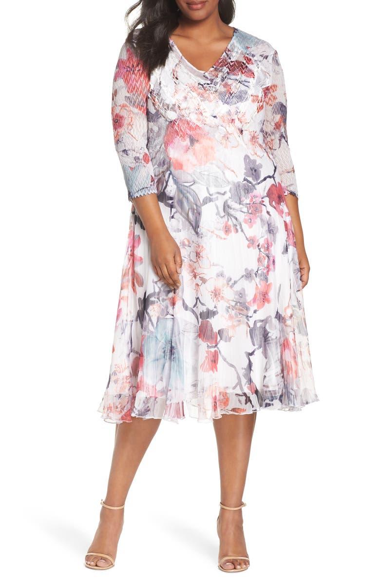 KOMAROV Charmeuse & Chiffon Dress, Main, color, PAINTED MEADOW