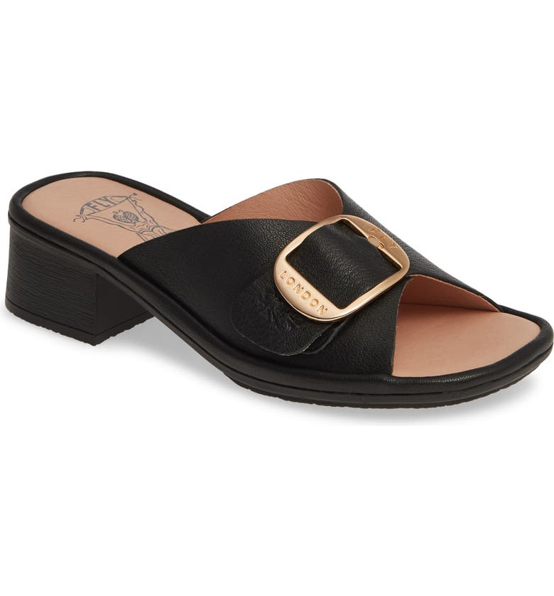 FLY LONDON Elax Slide Sandal, Main, color, BLACK LEATHER