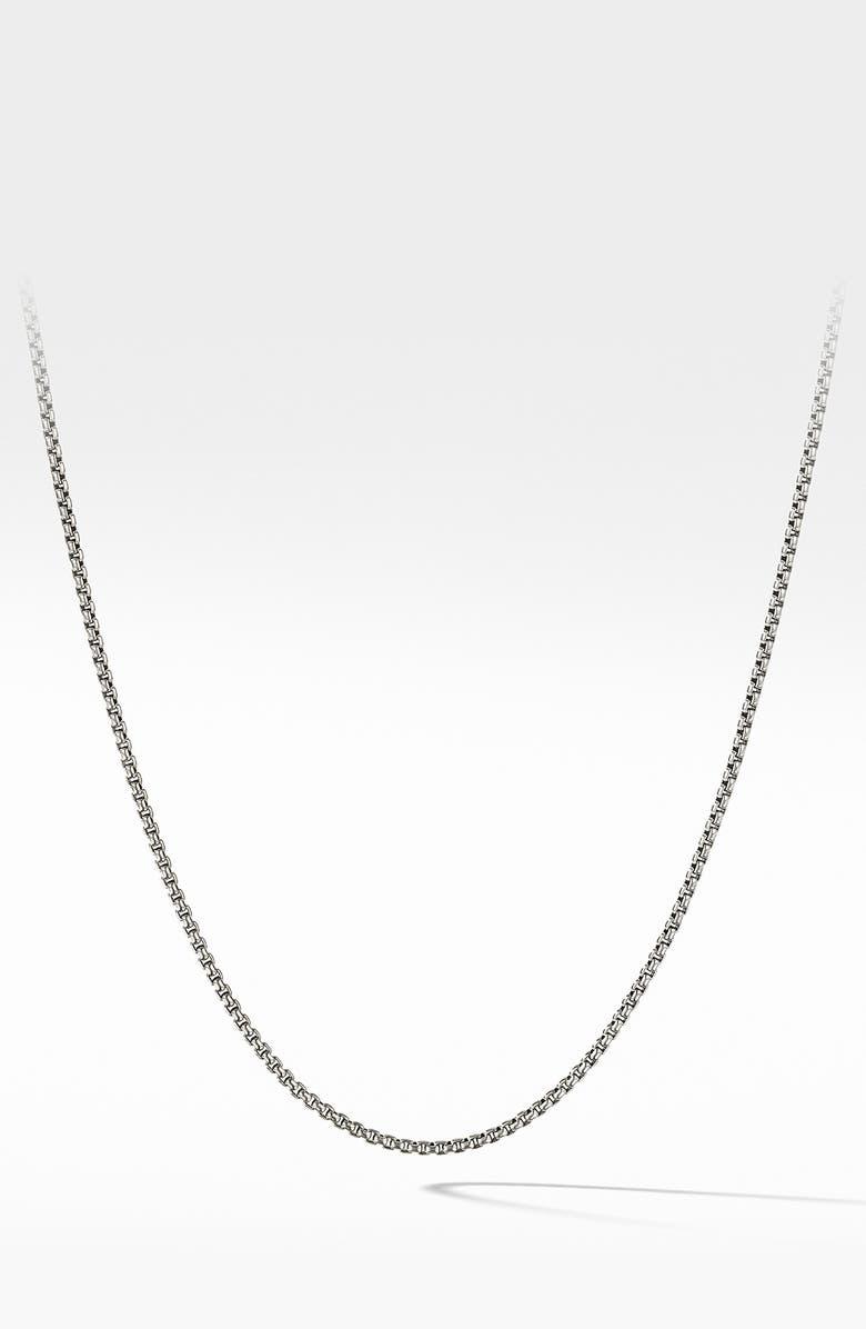 DAVID YURMAN Box Chain Necklace with 14-Karat Gold, Main, color, METALLIC SILVER