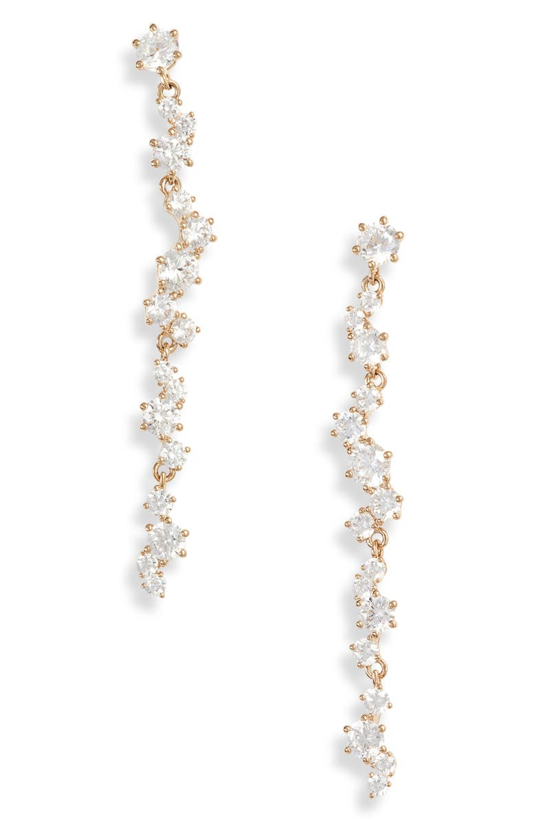 NADRI Cubic Zirconia Cluster Linear Drop Earrings, Main, color, GOLD
