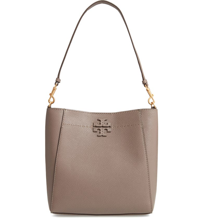 TORY BURCH McGraw Leather Hobo, Main, color, SILVER MAPLE