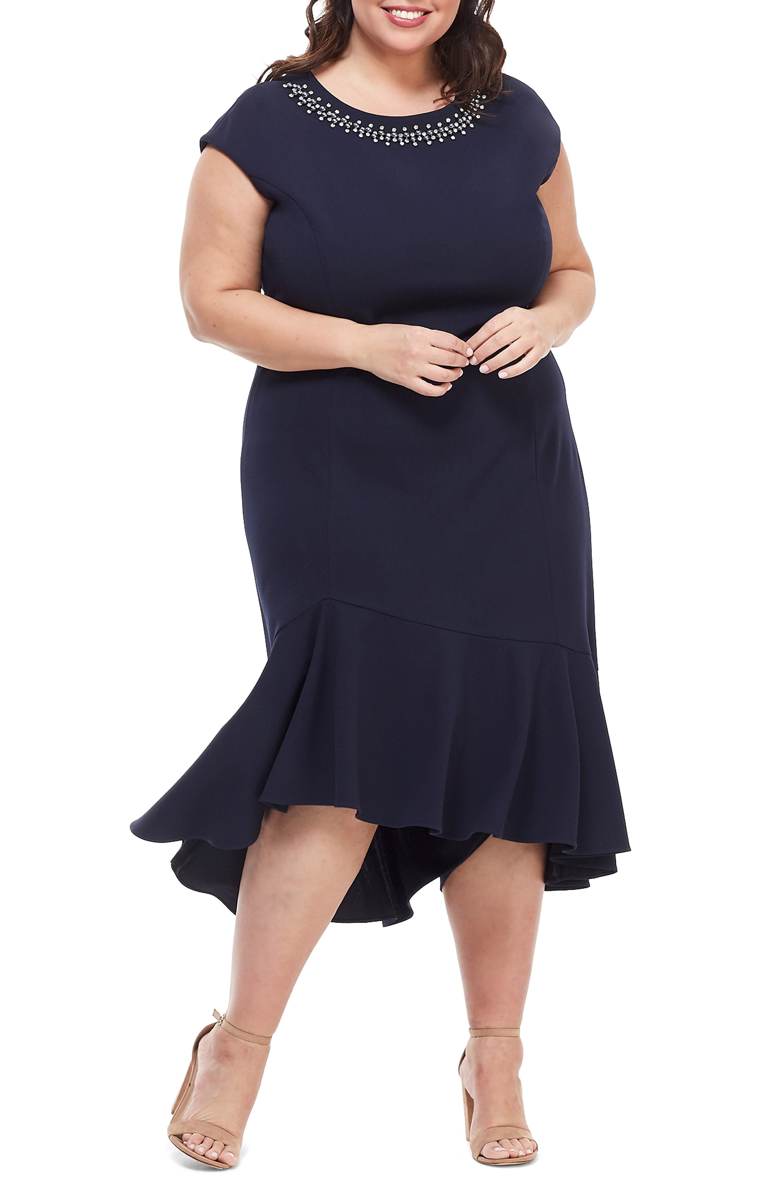 Plus Size Maggy London Embellished Flounce Hem Cocktail Dress, Blue