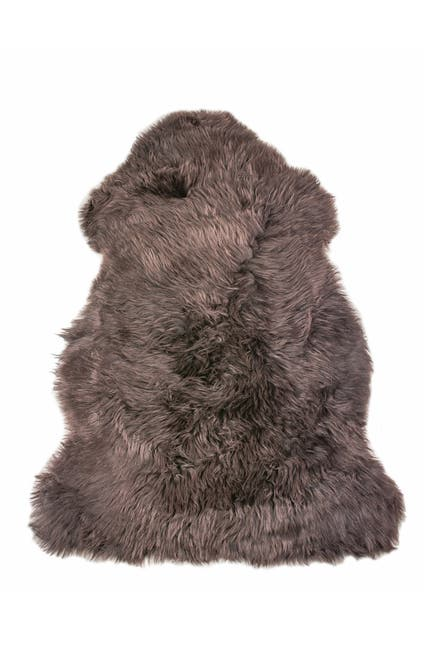 "Image of Natural Milan Genuine Sheepskin Shearling Throw 24"" x 36"" - Chocolate"