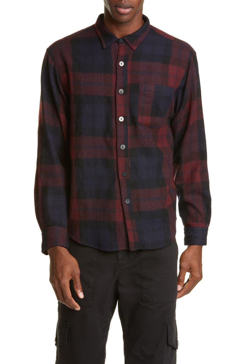 BILLY LOS ANGELES Plaid Button-Up Wool Flannel Shirt, Main, color, BLACK/BLOOD RED