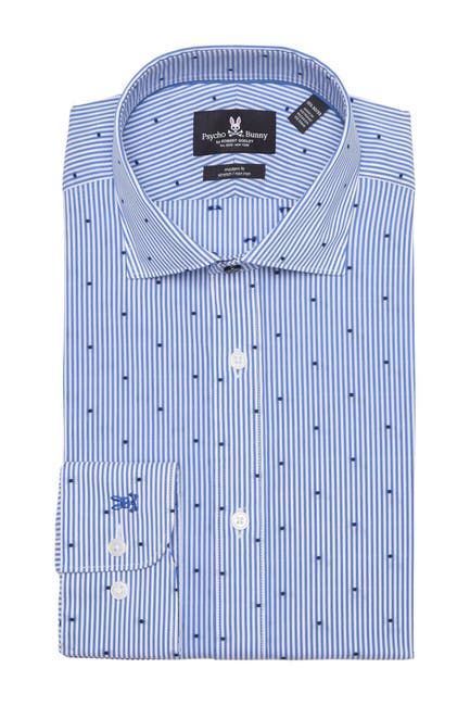 Image of Psycho Bunny Dobby Stripe Modern Fit Dress Shirt
