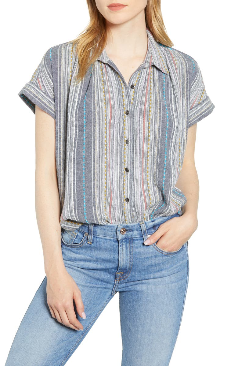 CASLON<SUP>®</SUP> Stripe Camp Shirt, Main, color, NAVY WHITNEY BOUND STRIPE