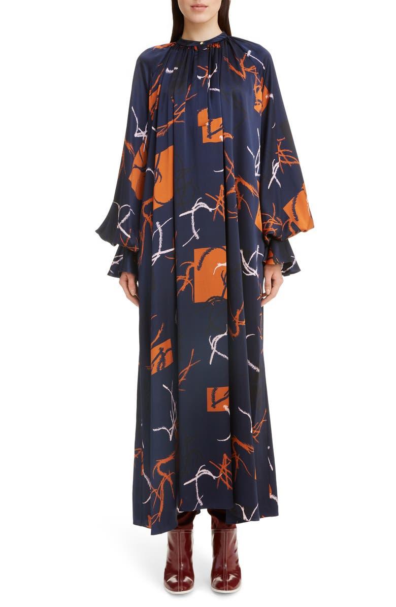 ROKSANDA Print Long Sleeve Silk Satin Dress, Main, color, MIDNIGHT
