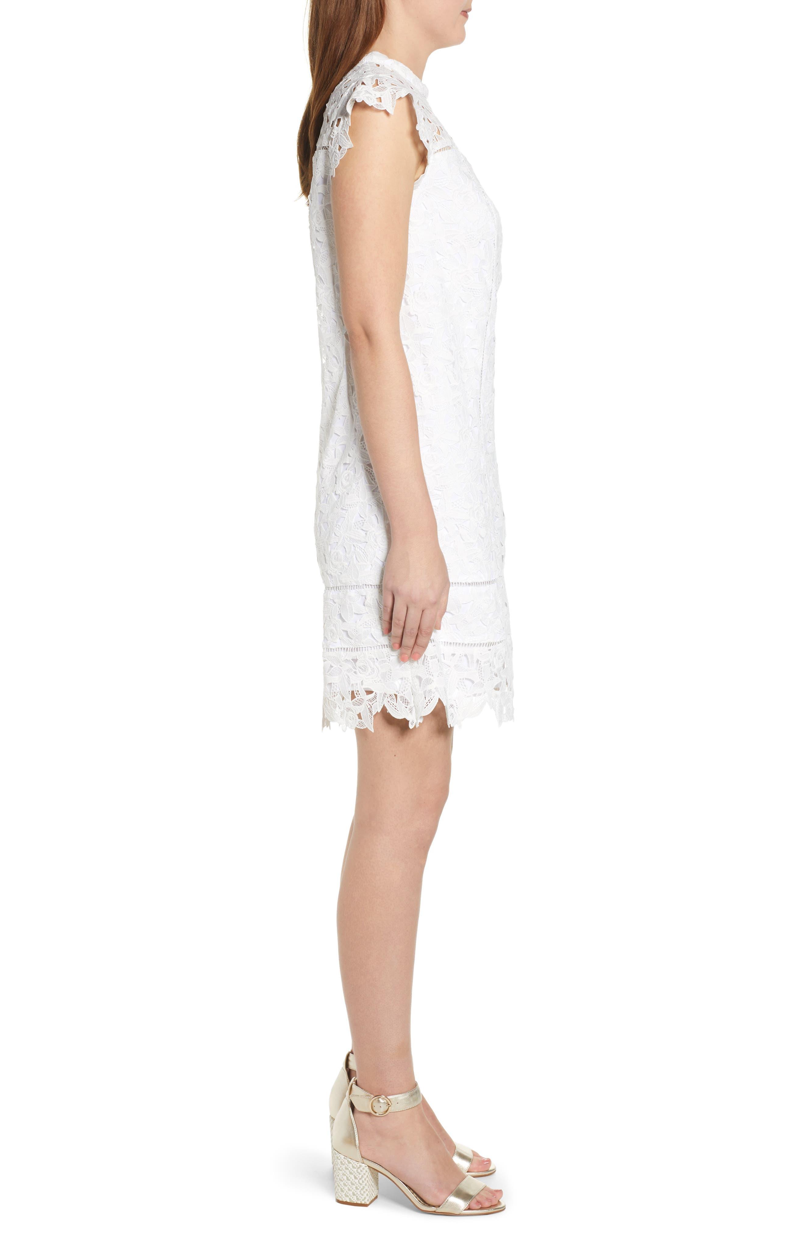 ,                             Lace Shift Dress,                             Alternate thumbnail 4, color,                             WHITE CAP