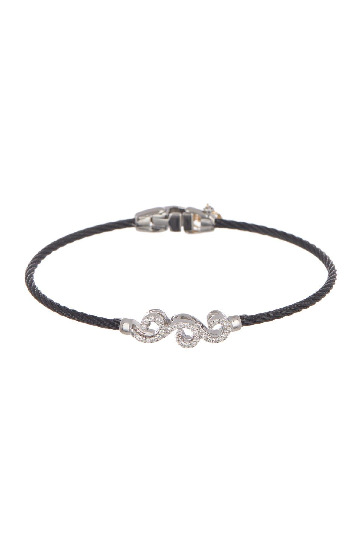 Image of ALOR 18K White Gold & Black Stainless Steel Cable Diamond Filigree Station Bracelet - 0.17 ctw