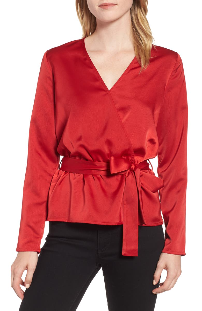 GIBSON x Glam Squad Faux Wrap Top, Main, color, 600
