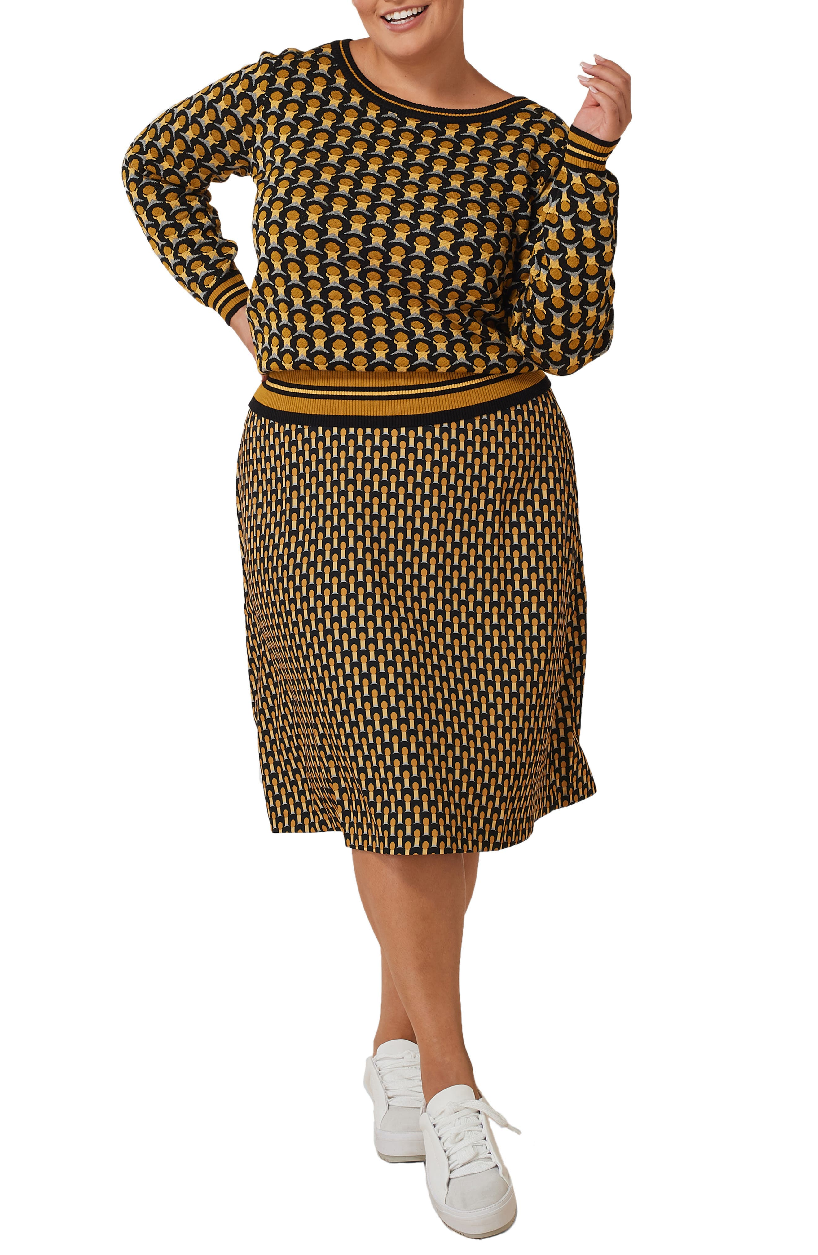 60s 70s Plus Size Dresses, Clothing, Costumes Plus Size Womens Maree Pour Toi Geo Print Sweater  Skirt Set $179.00 AT vintagedancer.com
