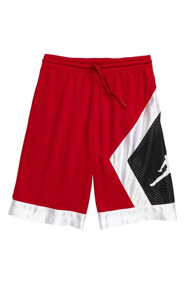 JORDAN Blocked Diamond Dri-FIT Athletic Shorts, Main, color, GYM RED