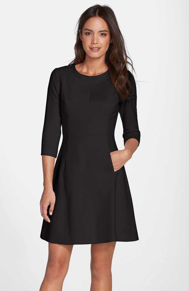 VINCE CAMUTO Crepe A-Line Dress, Main, color, 001