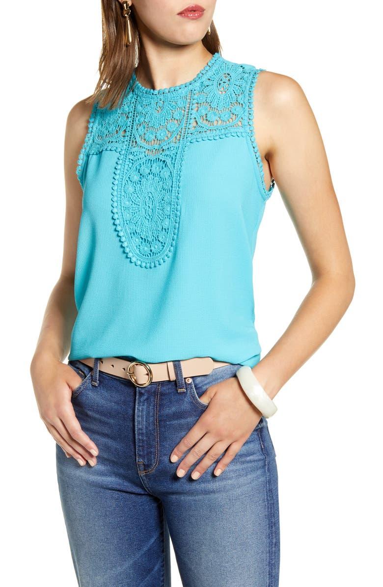HALOGEN<SUP>®</SUP> Lace & Crepe Top, Main, color, ARCADIA BLUE