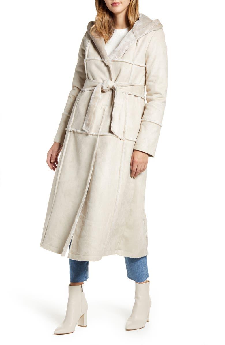 RACHEL PARCELL Faux Fur Trim Hooded Coat, Main, color, 050