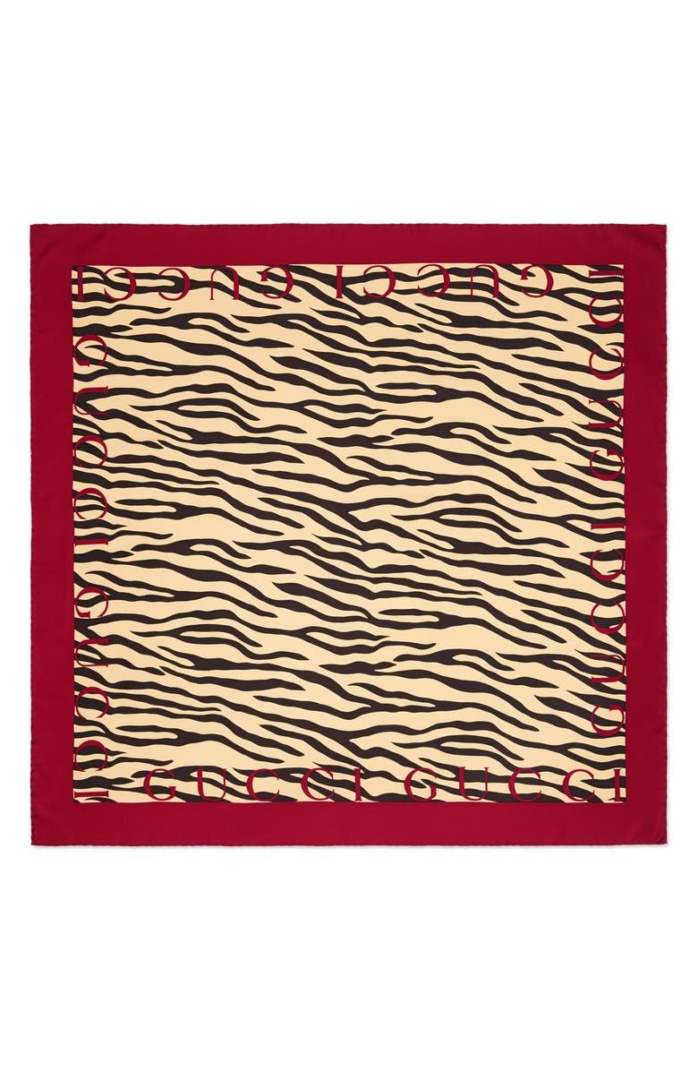 GUCCI Tiger Stripe & Logo Print Silk Scarf, Main, color, BLACK/ RED