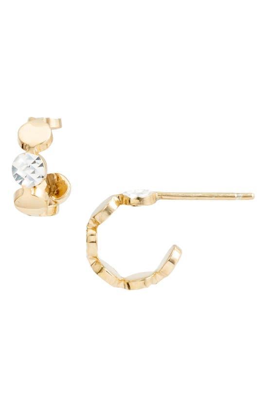 Jennifer Zeuner Bea Two-tone Huggie Hoop Earrings In Yellow Vermeil