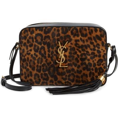 Saint Laurent Lou Leopard Print Leather Crossbody Bag - Brown