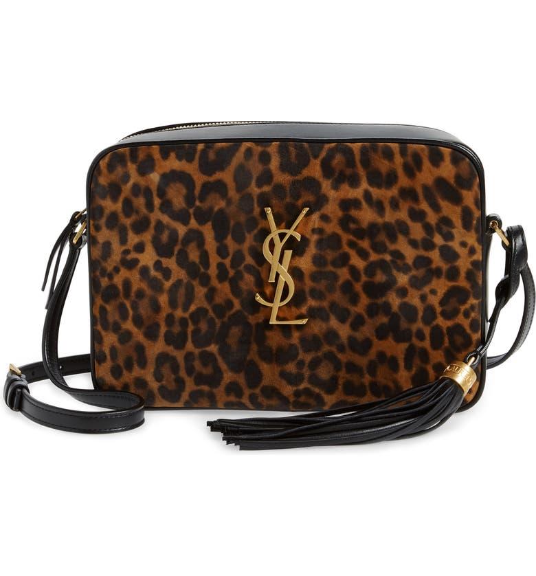 SAINT LAURENT Lou Leopard Print Leather Crossbody Bag, Main, color, NATUREL/ NOIR