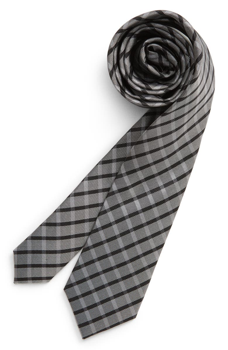 NORDSTROM Lorenzo Plaid Silk Tie, Main, color, BLACK
