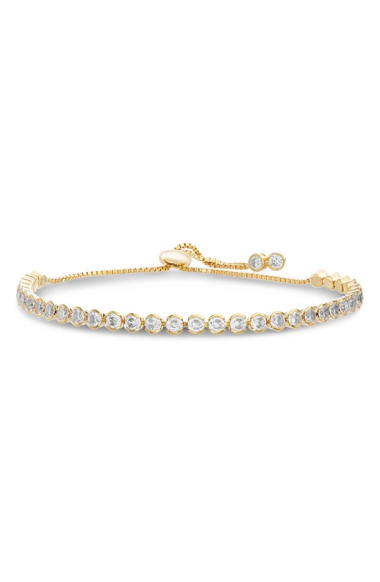 LESA MICHELE Cubic Zirconia Tennis Slider Bracelet, Main, color, GOLD/ CRYSTAL