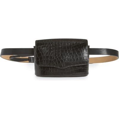 Rebecca Minkoff Croc Embossed Leather Belt Bag - Black