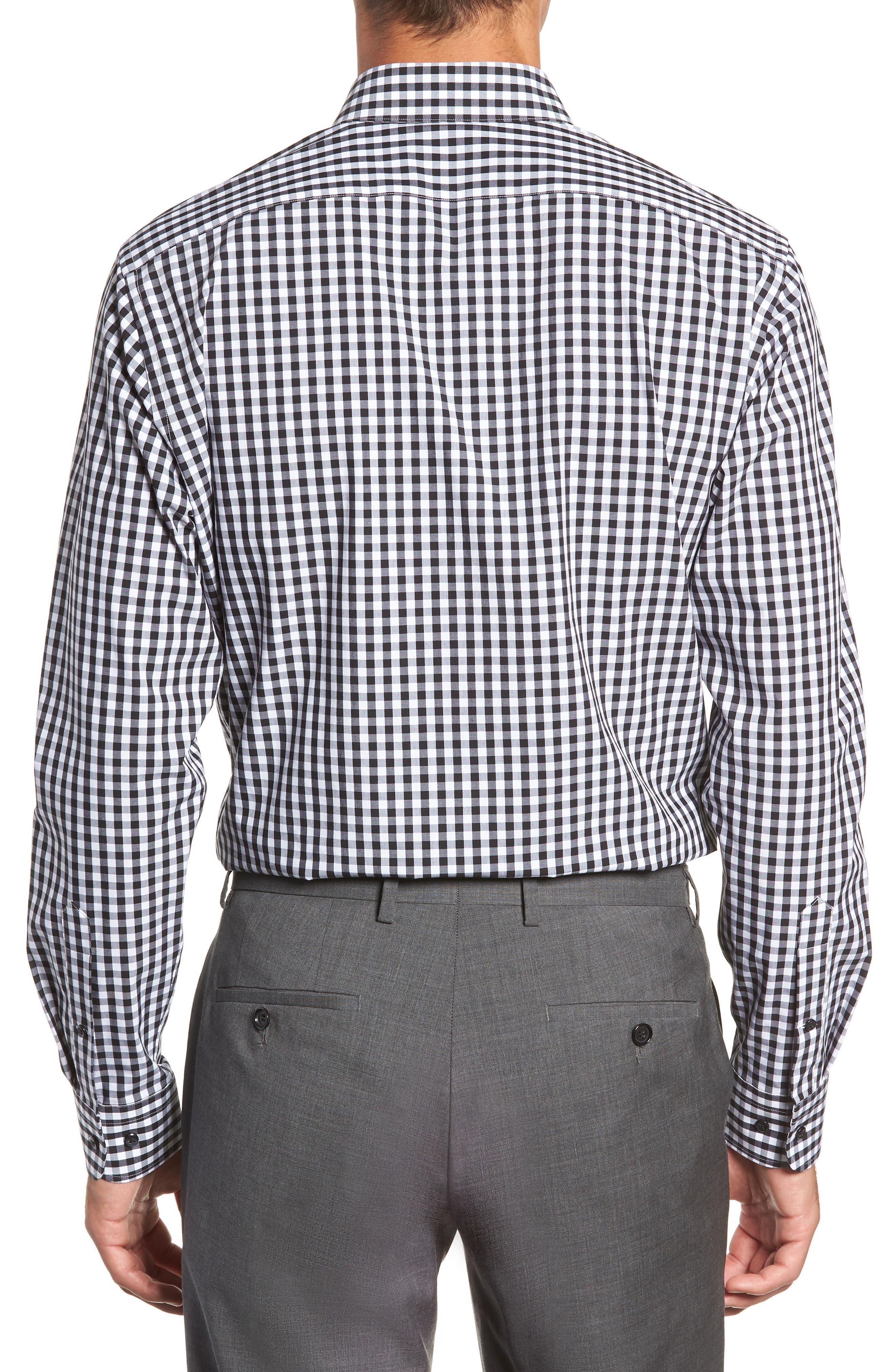 ,                             Tech-Smart Trim Fit Stretch Check Dress Shirt,                             Alternate thumbnail 3, color,                             001