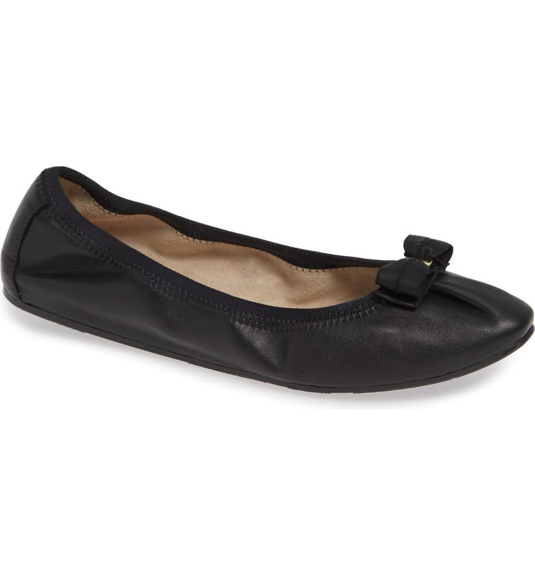 SALVATORE FERRAGAMO My Joy Ballet Flat, Main, color, BLACK NAPPA