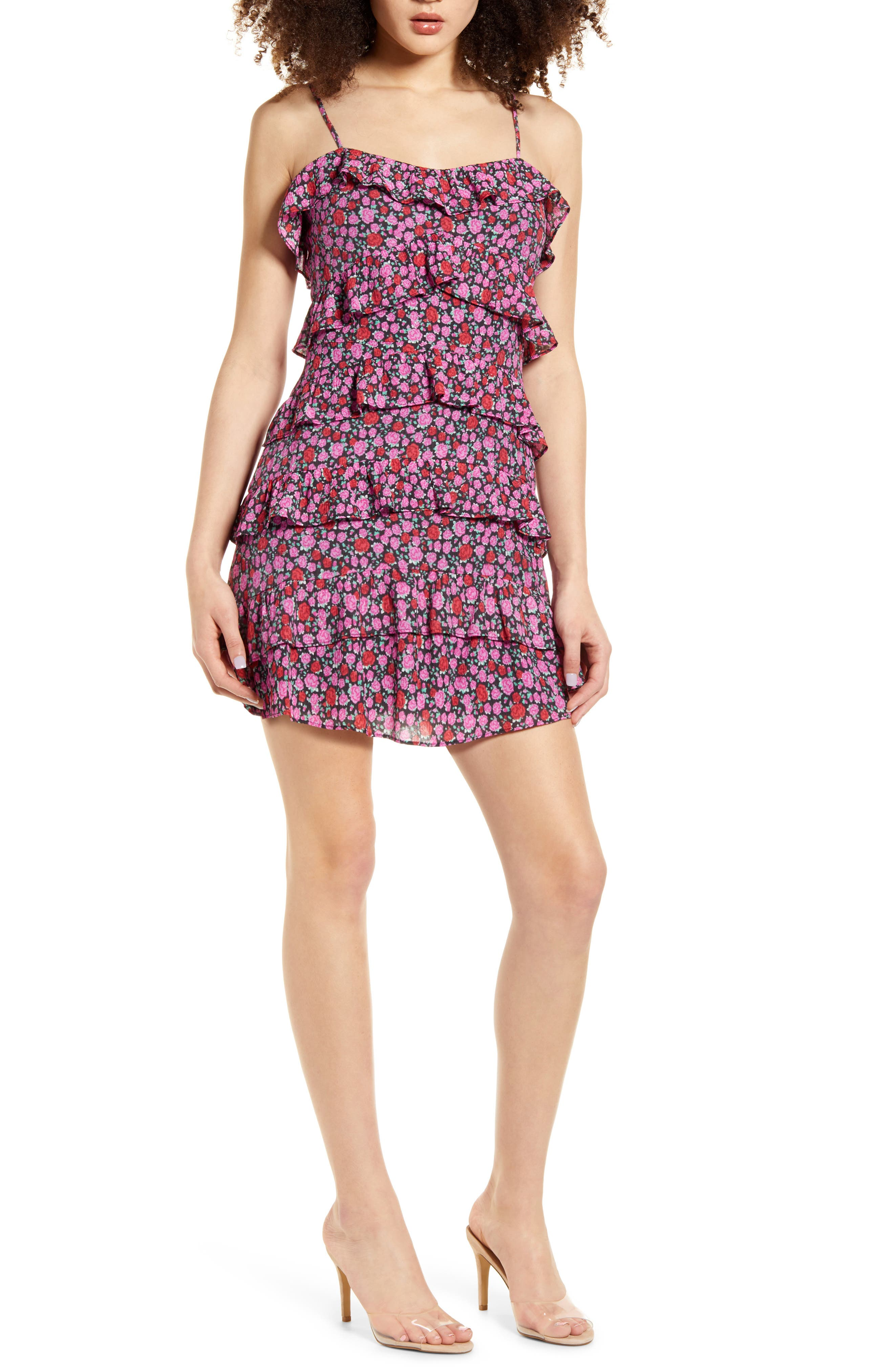 4SI3NNA Floral Ruffle Tiered Minidress   Nordstrom