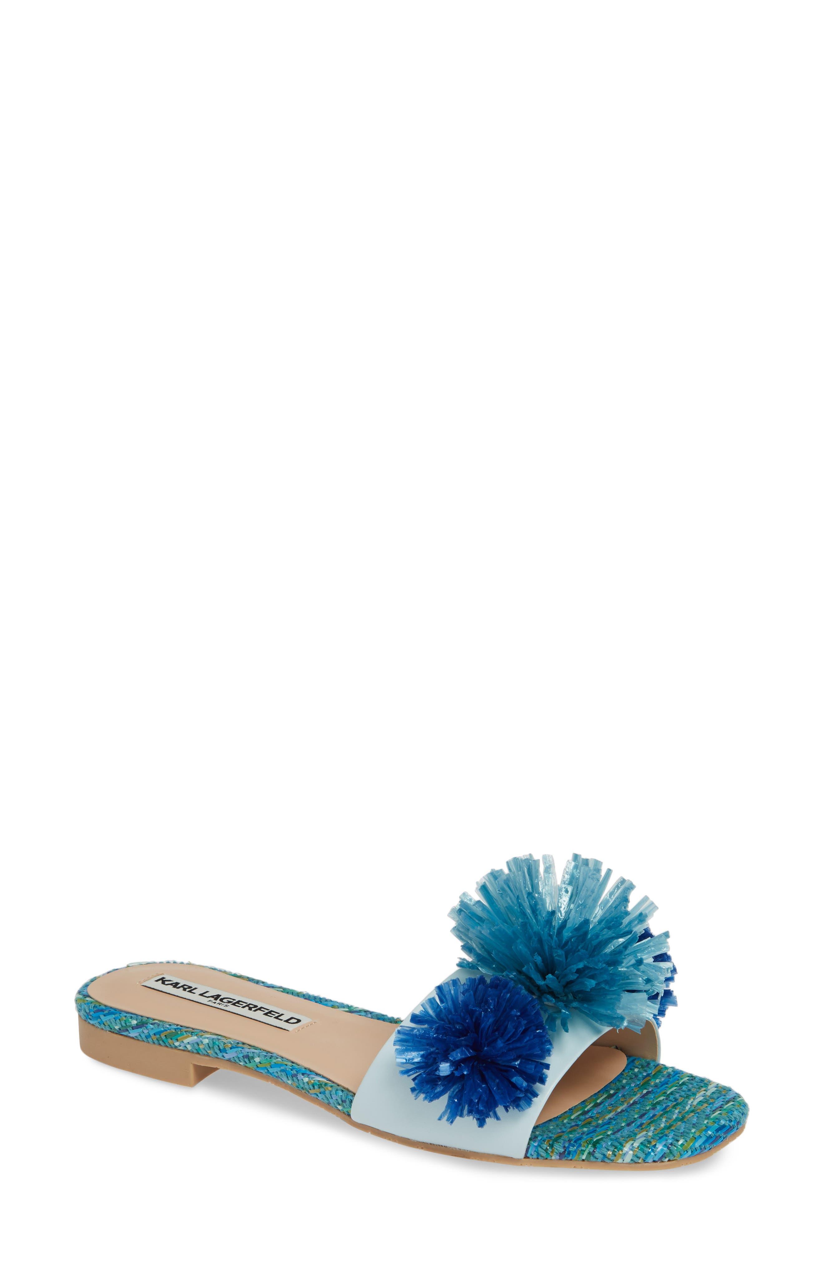 Karl Lagerfeld Paris Rainey Slide Sandal- Blue