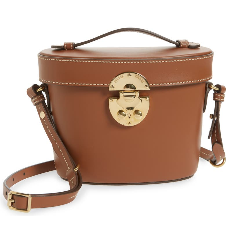 MIU MIU City Vanity Calfskin Leather Crossbody Bag, Main, color, COGNAC
