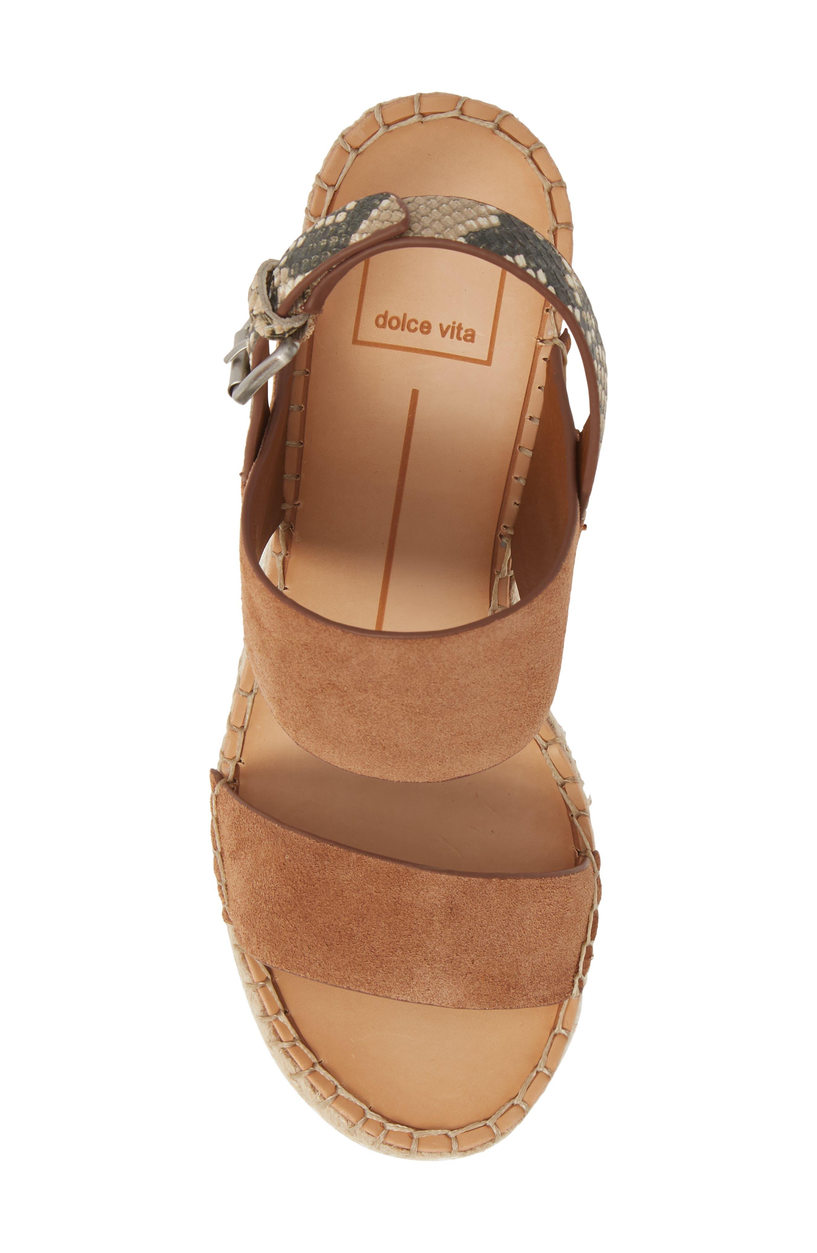 ,                             Spiro Platform Wedge Sandal,                             Alternate thumbnail 5, color,                             BROWN SUEDE