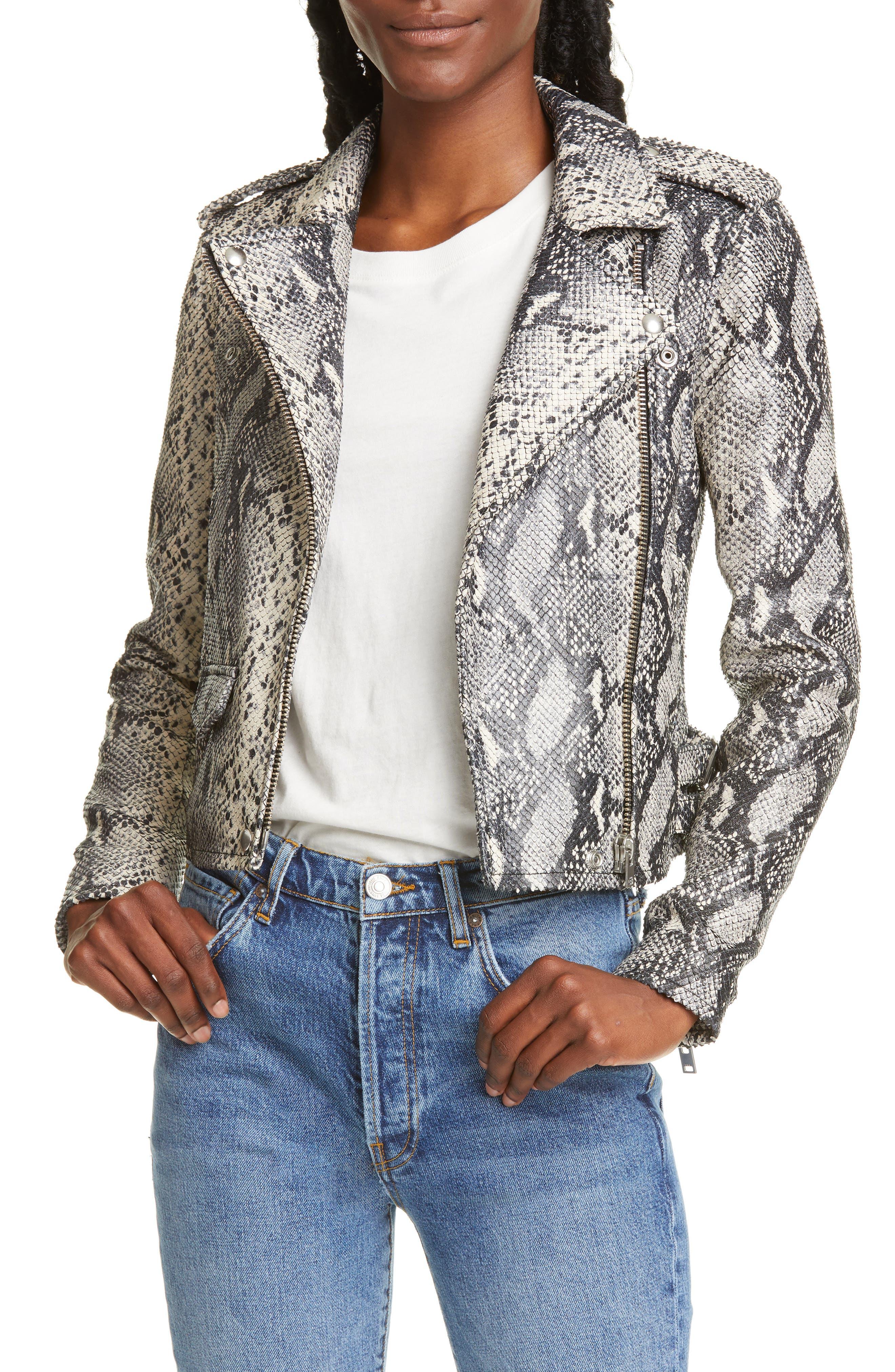 Iro Coats Ashville Snake Embossed Leather Moto Jacket