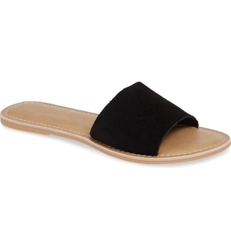 COCONUTS BY MATISSE Cabana Slide Sandal, Main, color, BLACK SUEDE