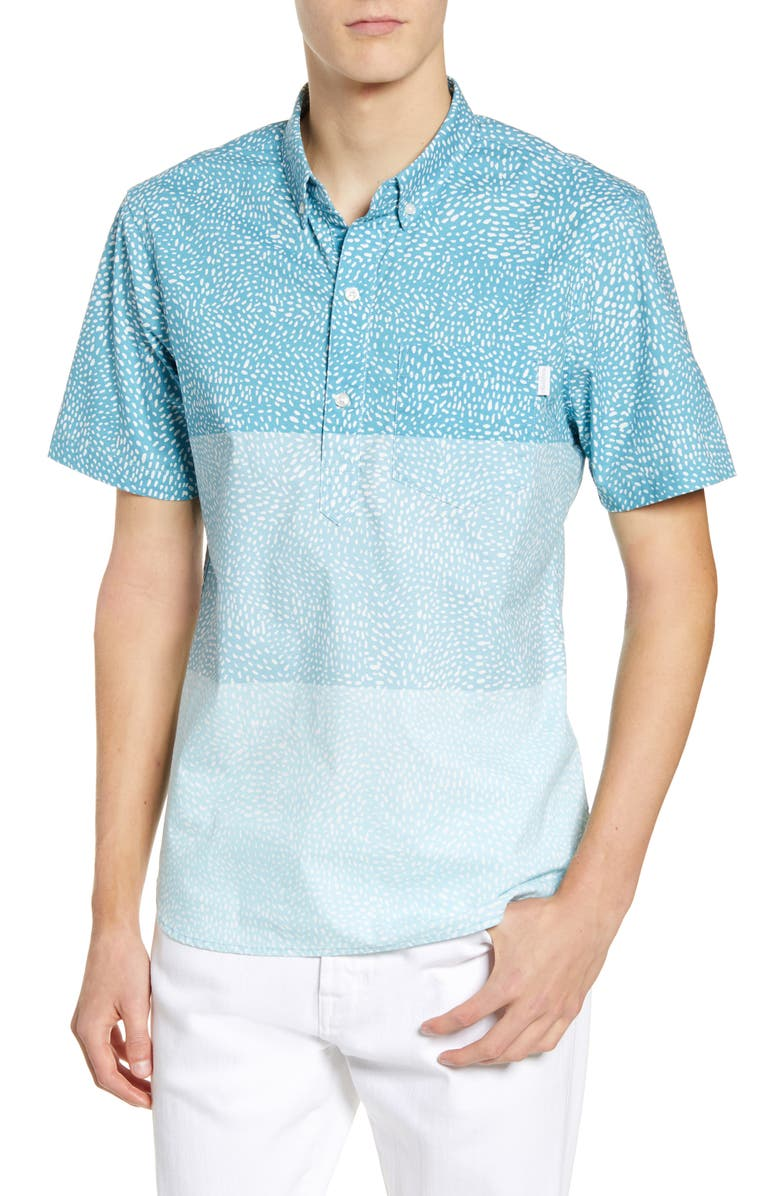 CHUBBIES The Wave Length Short Sleeve Button-Down Popover Shirt, Main, color, 440