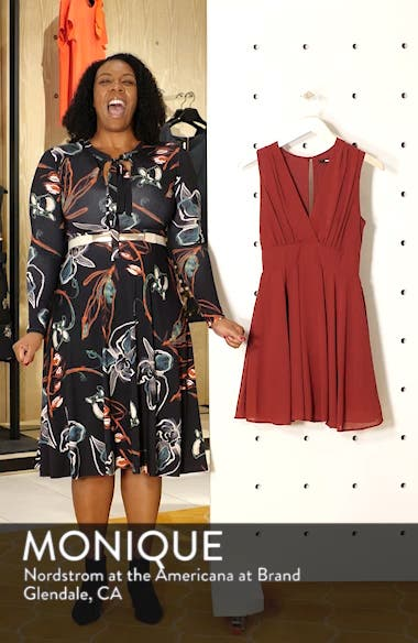 V-Neck Fit & Flare Dress, sales video thumbnail