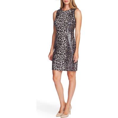Vince Camuto Elegant Stripe Leopard Sequin Dress, Black