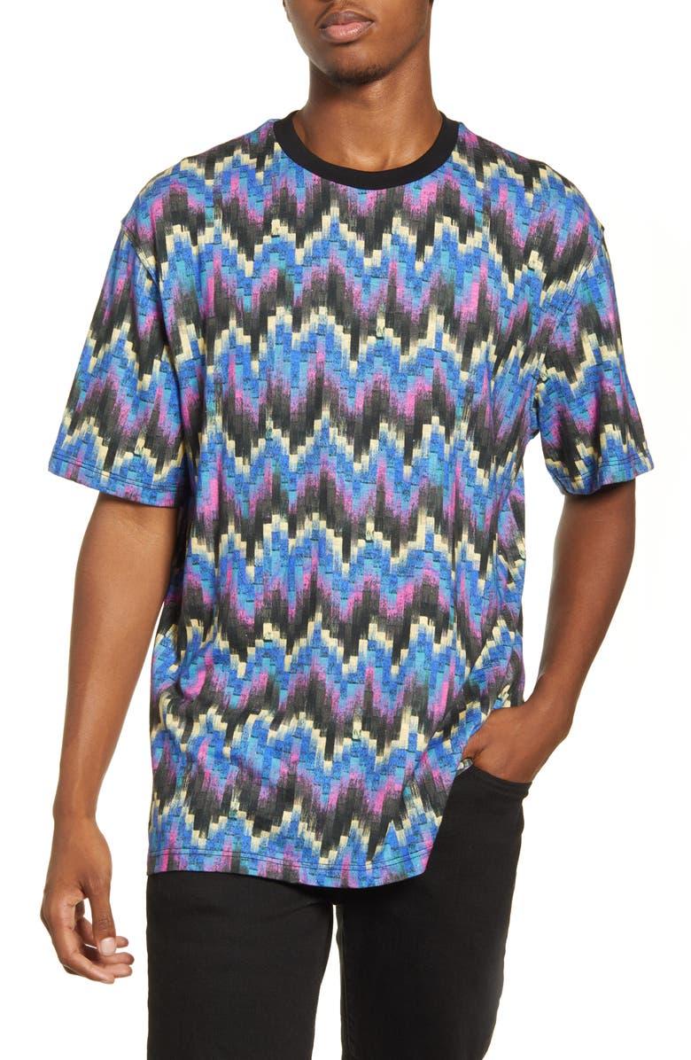 TOPMAN Geo Print T-Shirt, Main, color, BLUE MULTI
