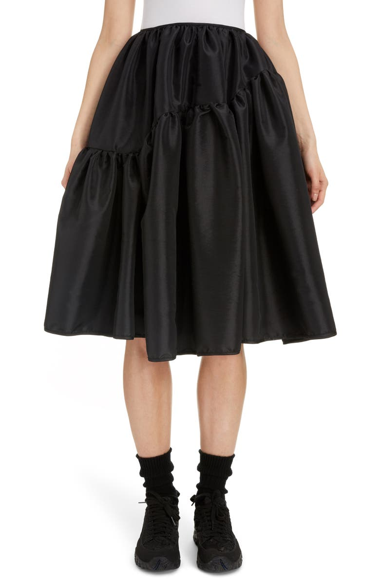 CECILIE BAHNSEN Tina Faille Skirt, Main, color, BLACK