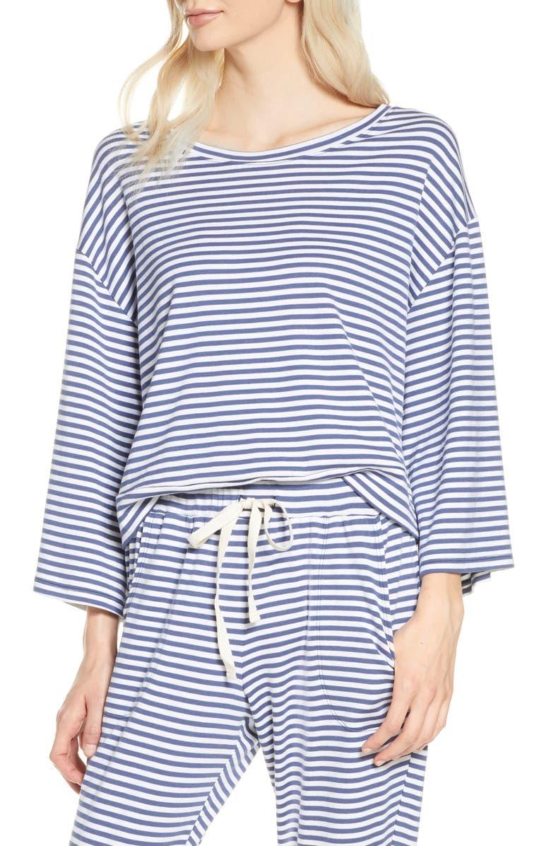 EBERJEY Quincy Icon Pajama Top, Main, color, BLUE INDIGO/ WHITE