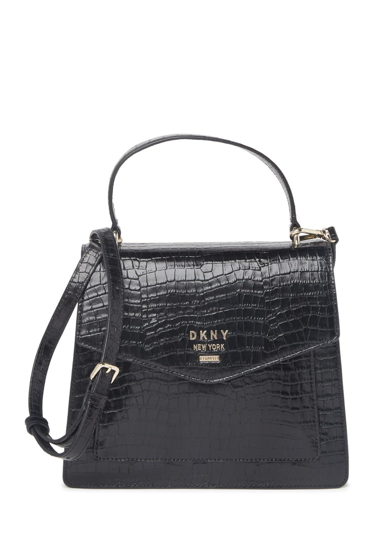 Image of DKNY Whitney Croc Embossed Leather Satchel Bag