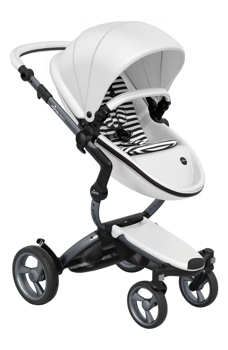 MIMA Xari Graphite Chassis Stroller with Reversible Reclining Seat & Carrycot, Main, color, WHITE/ BLACK AND WHITE