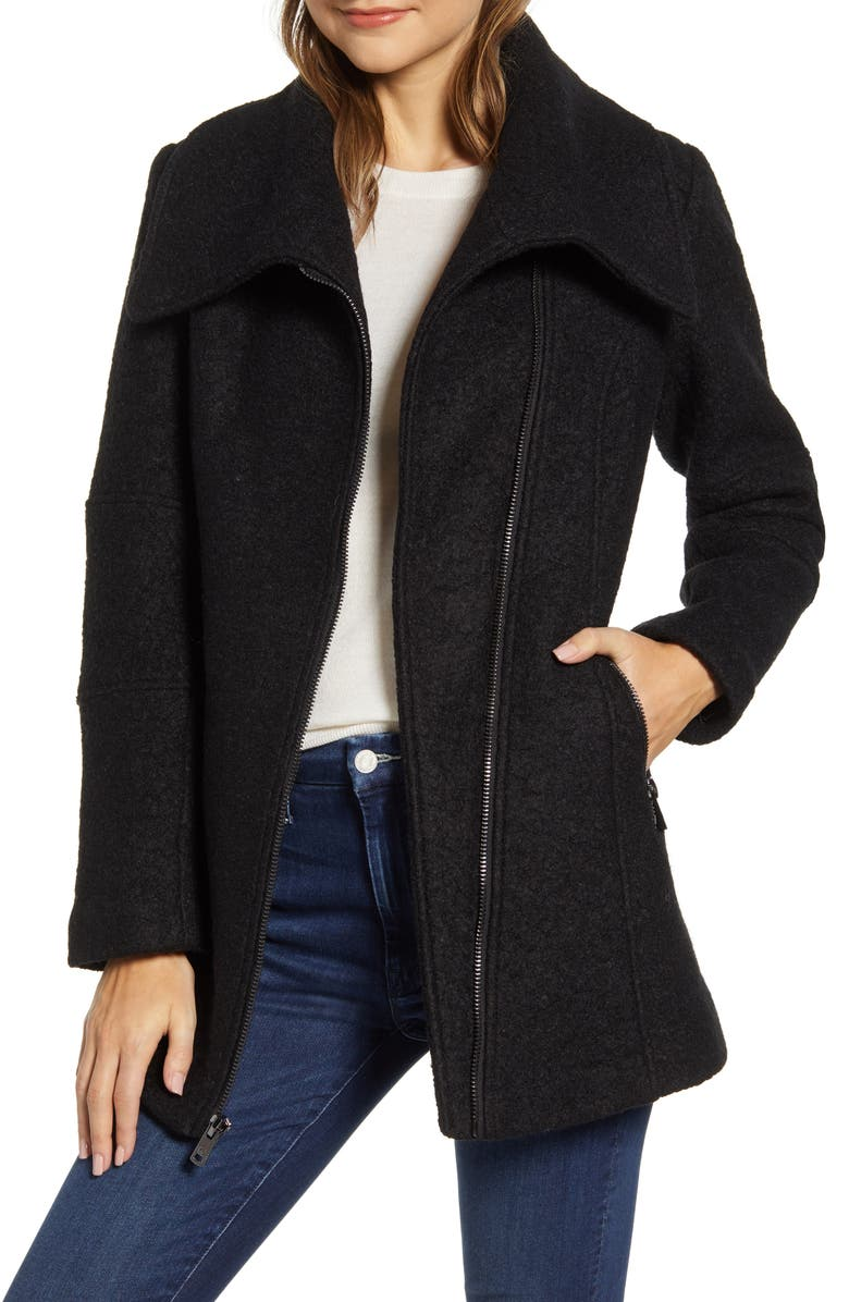 KENNETH COLE NEW YORK Kenneth Cole Wool Blend Bouclé Car Coat, Main, color, 001