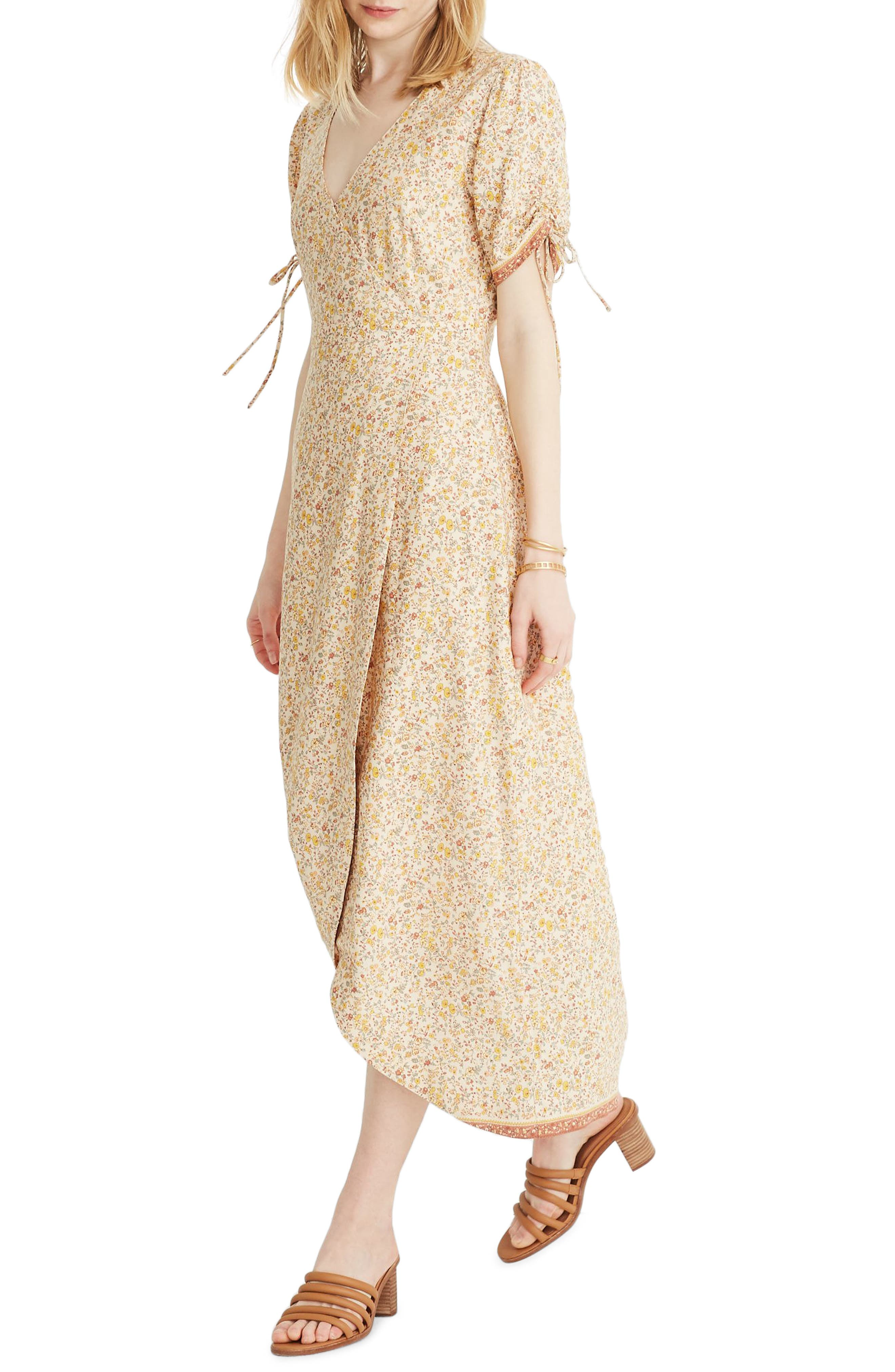 Madewell Blossoming Vines Peekaboo Sleeve Maxi Dress, Yellow