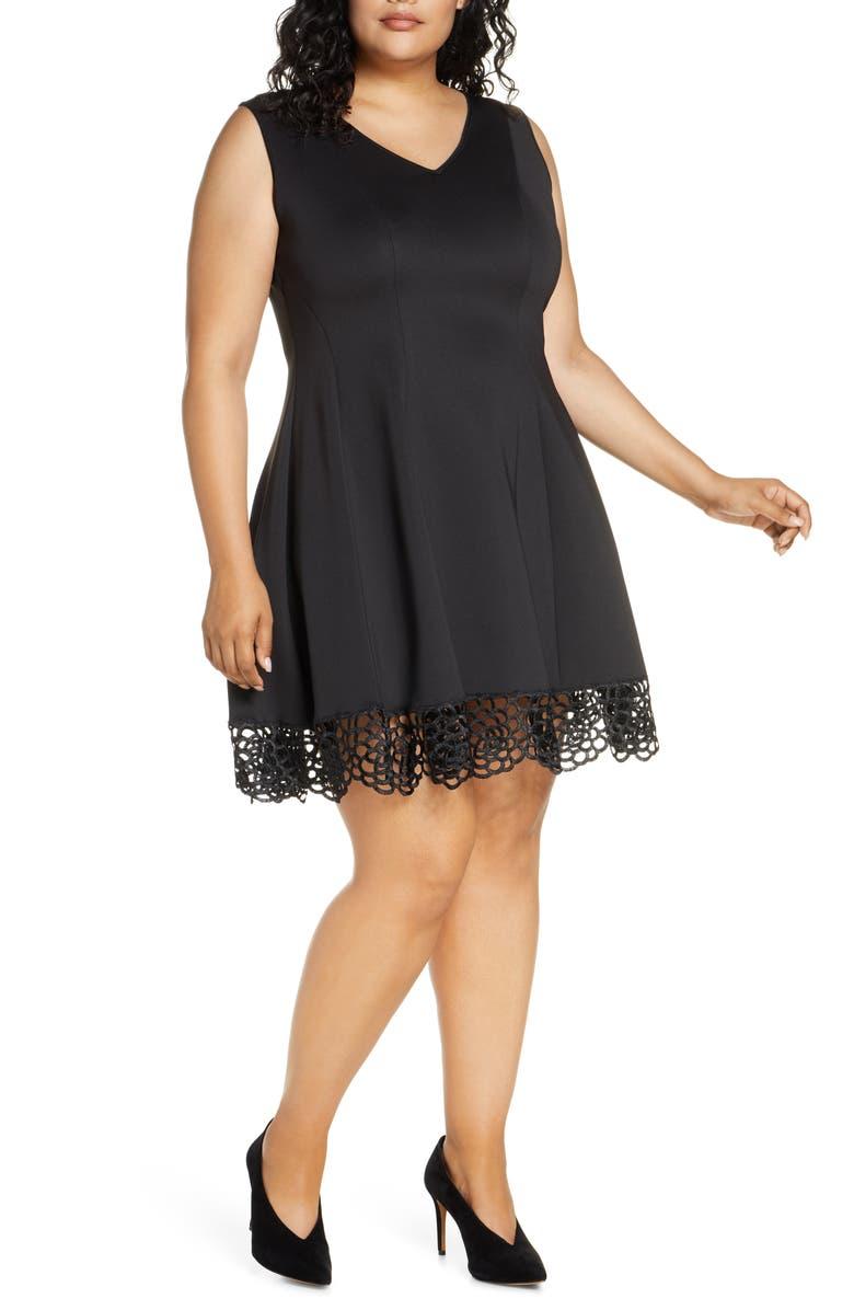 DONNA RICCO Crochet Hem Fit & Flare Dress, Main, color, BLACK