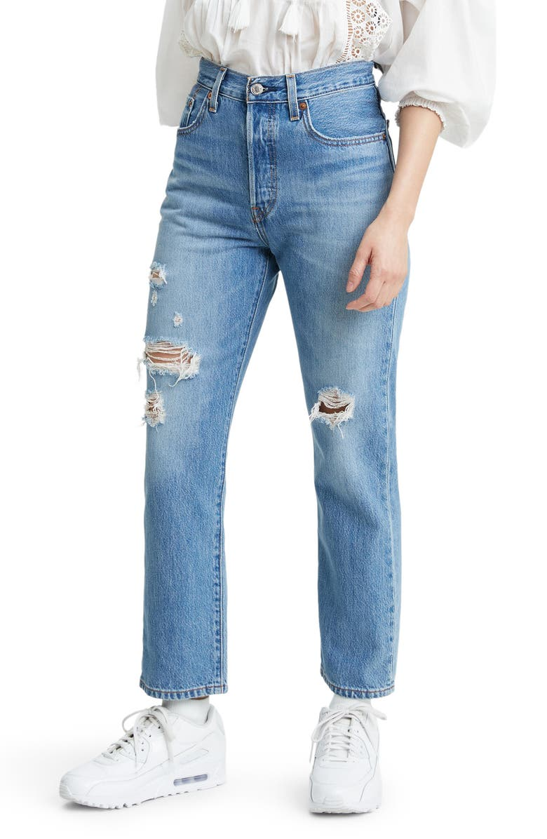 Levi's® 501® Ripped High Waist Crop Straight Leg Jeans (Sansome ...