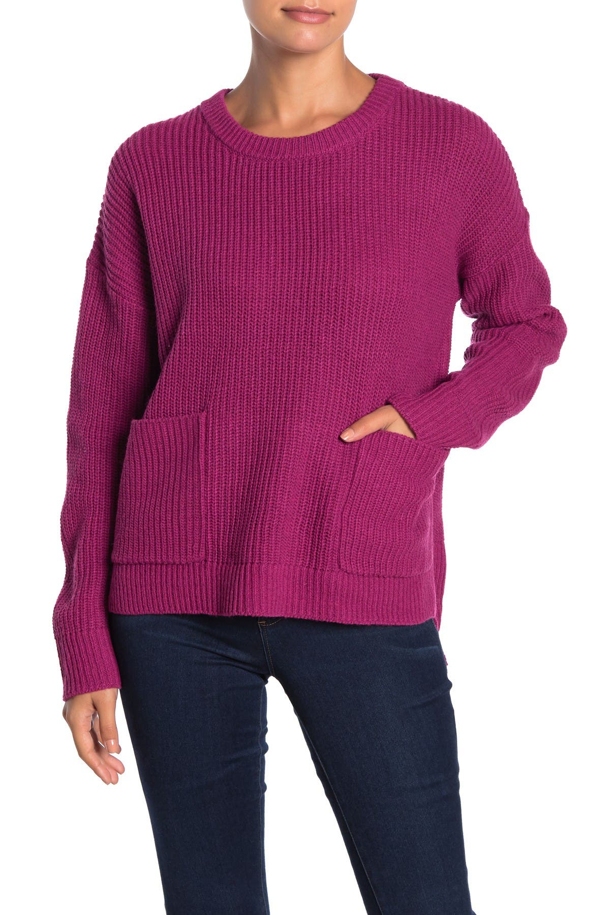 Image of MELLODAY Two Pocket Crew Neck Sweater